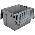 "AKRO-MILS Attached Lid Totes - 21-1/2x15x12-1/2"" - Gray - Pkg Qty 6"