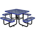 "46"" Expanded Metal Square Picnic Table, Blue"