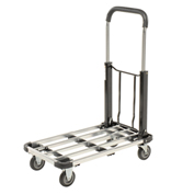 "Folding Platform Truck, Telescopic Aluminum Deck, 4"" Rubber Wheels, 300 Lb. Capacity"