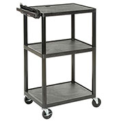 Plastic Audio Visual & Instrument Cart Three Shelves 32 X 24 X 40