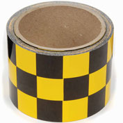 "INCOM Checkerboard Hazard Tape, 3""W x 54'L, Yellow/Black, 1 Roll"