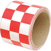 "INCOM Checkerboard Hazard Tape, 3""W x 54'L, Red/White, 1 Roll"