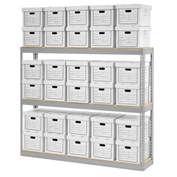"Record Storage Rack With 30 Boxes, 72""W x 15""D x 60""H, Gray"