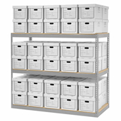 "Record Storage Rack With 60 Boxes, 72""W x 30""D x 60""H, Gray"
