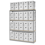 "Record Storage Rack With 40 Boxes, 72""W x 15""D x 84""H, Gray"