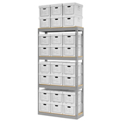 "Record Storage Rack With 24 Boxes, 42""W x 15""D x 84""H, Gray"
