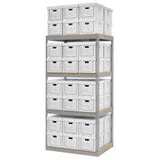 "Record Storage Rack With 48 Boxes, 42""W x 30""D x 84""H, Gray"