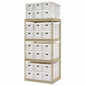 "Record Storage Rack With 48 Boxes, 42""W x 30""D x 84""H, Tan"