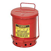 Justrite Oily Waste Can, 6 Gallon, Red