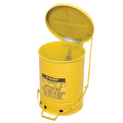 Justrite Oily Waste Can, 6 Gallon, Yellow