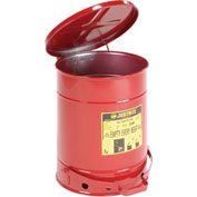 Justrite Oily Waste Can, 10 Gallon, Red