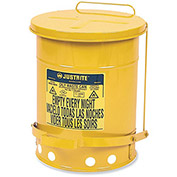 "JUSTRITE All-Steel Waste Can - 17""Dia.x20""H - 14-Gallon Capacity - Yellow"
