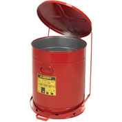 Justrite Oily Waste Can, 21 Gallon, Red