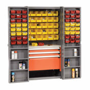 Storage Cabinet With Shelves, 3 Drawers, Yellow/Red Bins, 38x24x72