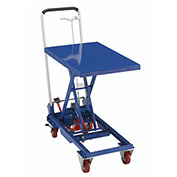 Mobile Scissor Lift Table with Folding Handle, 27 x 17 Platform, 330 Lb. Capacity
