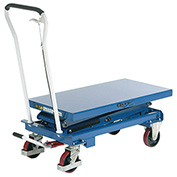 Mobile Scissor Lift Table, 39 x 20 Platform, 1100 Lb. Capacity, Double Scissor