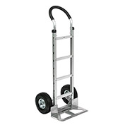 Aluminum Hand Truck Curved Handle, Pneumatic Wheels