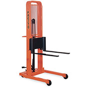 "PRESTO Foot-Operated Stackers - Adjustable 3""Wx25""L Forks - 5-1/4"" Lowered Height, 66"" Lift Height"
