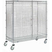 Wire Security Storage Truck with Brakes, 36 x 24 x 69, 1200 Lb. Cap.