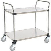 Stainless Steel Utility Cart, 2 Shelves, 48x24x38