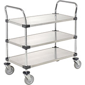 Stainless Steel Utility Cart, 3 Shelves, 48x24x38