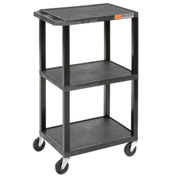 "LUXOR | H. WILSON Tuffy Utility Carts with 3-Outlet Electrical Assembly - 24""Wx18""D Shelf - 42""H - B"