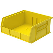 "Plastic Stacking Bin, 11""W x 10-7/8""D x 5""H, Yellow - Pkg Qty 6"