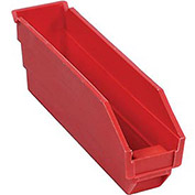 "Plastic Shelf Bin Nestable 2-3/4""W x 11-5/8""D x 4""H Red - Pkg Qty 24"