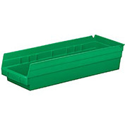 "Plastic Shelf Bin Nestable 6-5/8""W x 17-7/8"" D x 4""H Green - Pkg Qty 12"