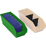 "Plastic Shelf Bin Nestable 11-1/8""W x 11-5/8"" D x 4""H Green - Pkg Qty 12"