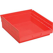 "Plastic Shelf Bin Nestable 11-1/8""W x 11-5/8"" D x 4""H Red - Pkg Qty 12"