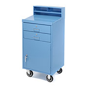 "Enclosed Mobile Shop Desk, 23""W x 20""D x 51""H, Blue"