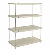 "Plastic Shelving Unit with Solid Shelving, 48""Wx24""Dx63""H"