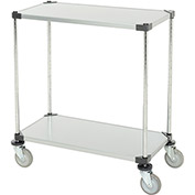 "Adjustable Solid Galvanized Shelf Cart, 2 Shelves, 800 Lb. Cap, 36""L x 18""W x 40""H"