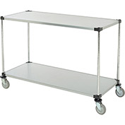 "Adjustable Solid Galvanized Shelf Cart, 2 Shelves, 800 Lb. Cap, 60""L x 18""W x 40""H"