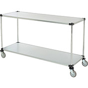 "Adjustable Solid Galvanized Shelf Cart, 2 Shelves, 800 Lb. Cap, 72""L x 18""W x 40""H"