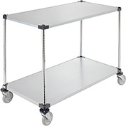 "Adjustable Solid Galvanized Shelf Cart, 2 Shelves, 800 Lb. Cap, 48""L x 24""W x 40""H"