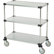 "Adjustable Solid Galvanized Shelf Cart, 3 Shelves, 800 Lb. Cap, 36""L x 18""W x 40""H"