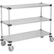 "Adjustable Solid Galvanized Shelf Cart, 3 Shelves, 800 Lb. Cap, 72""L x 18""W x 40""H"