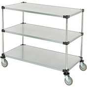 "Adjustable Solid Galvanized Shelf Cart, 3 Shelves, 800 Lb. Cap, 48""L x 24""W x 40""H"