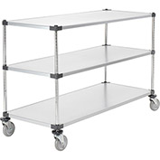 "Adjustable Solid Galvanized Shelf Cart, 3 Shelves, 800 Lb. Cap, 60""L x 24""W x 40""H"