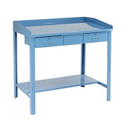 "Extra-Wide Shop Desk, 48""W x 30""D x 43""H, Blue"