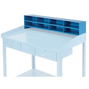 "8 Pigeon Hole Riser for 48""W Shop Desk, 48""W x 9""D x 11""H, Blue"