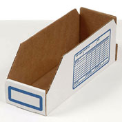 "Foldable Corrugated Shelf Bin, White, 2""W x 12""D x 4-1/2""H - Pkg Qty 100"