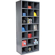 21 Compartment Steel Storage Bin Cabinet with Plastic Dividers, 36x18x85