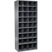 36 Compartment Steel Storage Bin Cabinet with Plastic Dividers, 36x18x85