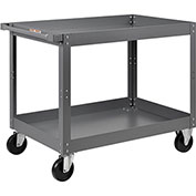 Edsal 2 Shelf Deep Tray Steel Stock Cart 36x24 800 Lb. Capacity