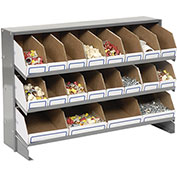 Steel Bench Bin Rack with 20 Corruaged Bins, 33x12x21