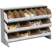 Steel Bench Bin Rack with 16 Corruaged Bins, 33x12x21