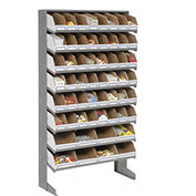 Floor Picker Rack with 56 Corrugated Bins, 33x12x61